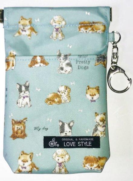 画像1: 消臭マナーポーチ(ribbon dogs)sky blue防水加工 (1)